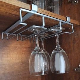 Soporte copas para entrepaño de madera